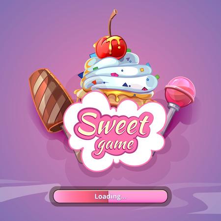jeu: Bonbons fond de jeu du monde avec le nom du titre. art design Sweet, lollipop fantastique, illustration vectorielle
