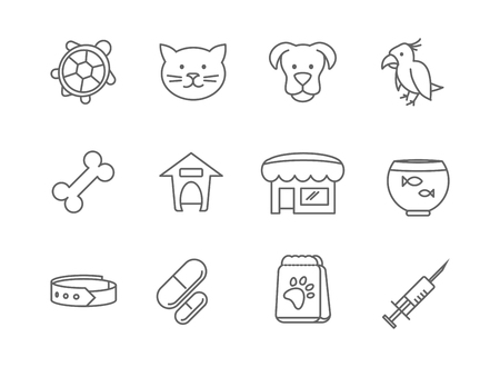 care symbol: Pets shop and clinic line vector icons. Aquarium and turtle, parrot and fish, veterinary symbol, dog care illustration