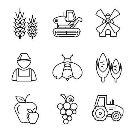 Farm line vector icons set. Combine and grape, fruit and crop, gardening and windmills, growth nature illustration Illustration