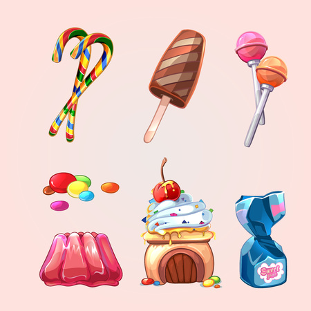 yummy: Vector sweets and cookies set in cartoon style. Lollipop and caramel, yummy tasty candy, cake and ice cream illustration