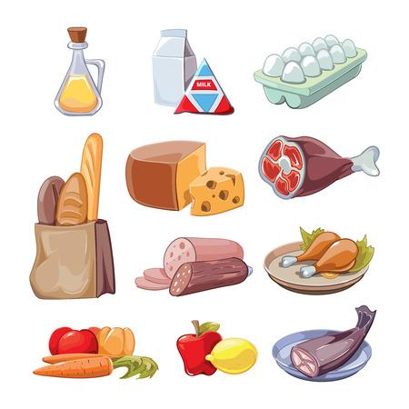 leche: Productos alimenticios cotidianos comunes. Iconos de la historieta creado disposición, queso y pescado, sausagesand leche, ilustración vectorial