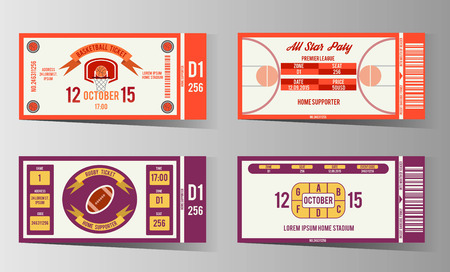 event icon: Rugby and Basketball ticket design template. Card invitation, game team, event and date, location and place sector. vector illustration