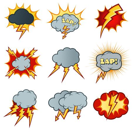 volte: Lightning icons set in cartoon comic style. Flash explosion,  cloud caricature, electricity thunder, vector illustration Illustration
