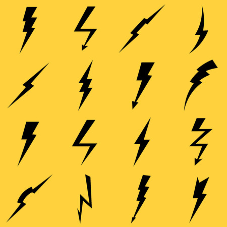 Lightning black vector icons set. Flash and arrow, electricity thunder, danger light power illustration