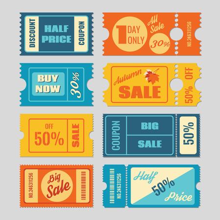 Coupon, vente des billets vector set. Étiquette et l'étiquette, le prix de vente au détail, la promotion des affaires illustration
