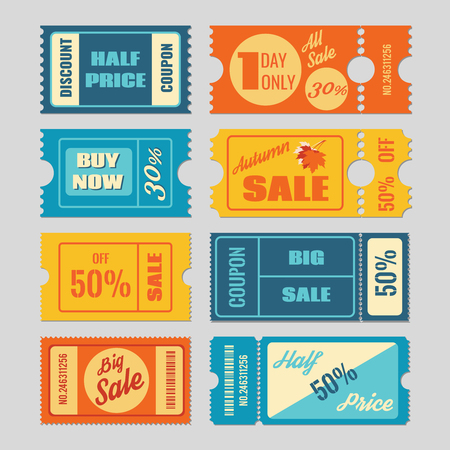 Discount coupon, sale tickets vector set. Label and tag, price retail, promotion business illustration Çizim