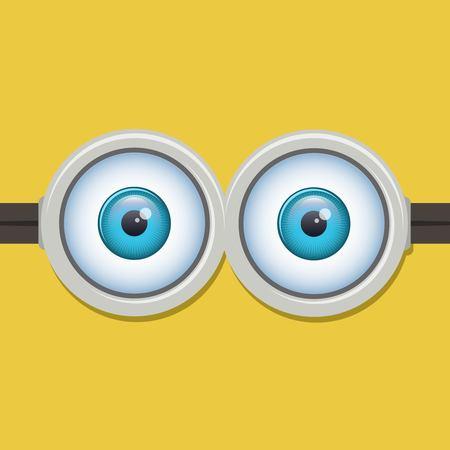 ojo humano: Dos ojos gafas o anteojos. Cartoo, diseño vista, ojos saltones divertido. Ilustración vectorial