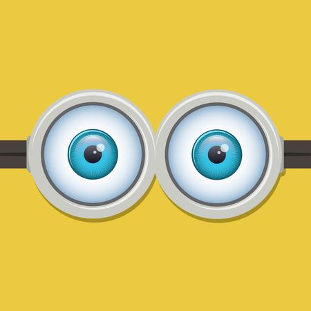 isolated on yellow: Two eyes glasses or goggles. Cartoo, sight design, pop-eyed funny. Vector illustration