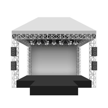 estructura: Etapa del concierto Podio. Rendimiento espectáculo de entretenimiento, escena y eventos. Ilustración vectorial