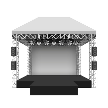 event party: Podium concert stage. Performance show entertainment, scene and event. Vector illustration