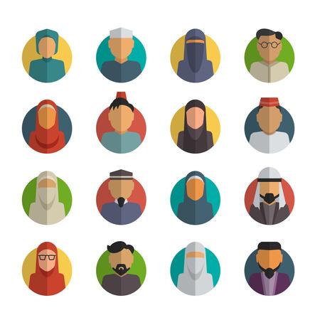 etnia: Gente del Medio Oriente iconos planos establecidos. Varón musulmán y rostros femeninos avatares vector de recogida. Cultura tradicional árabe, ilustración ropa velo
