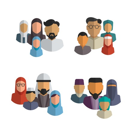 arabic: Muslim family icons vector set. Parent islam, arab child. Middle eastern people avatars illustration