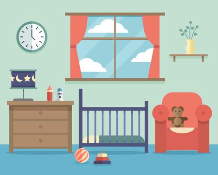 style: Nursery baby room interna con mobili in stile piatto. Casa camera da letto progettazione interna, illustrazione vettoriale