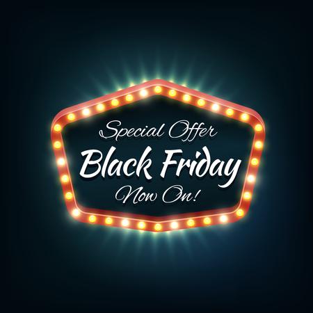 Black friday light frame, retro billboard. Sale and discount, business banner, vector illustration