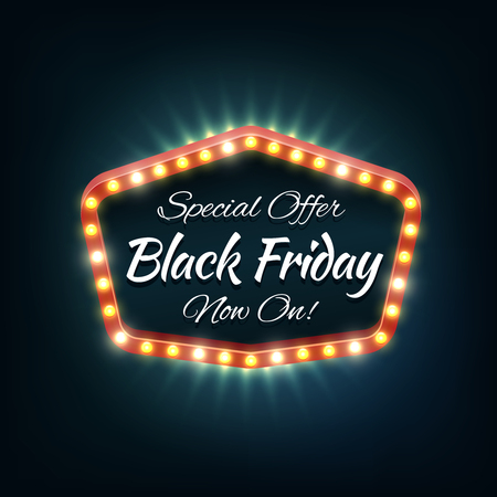 Black friday light frame, retro billboard. Sale and discount, business banner, vector illustration