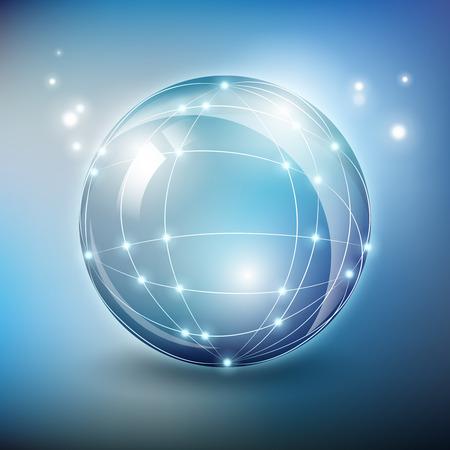 抽象的なガラス球ネットワーク ワイヤ メッシュの多角形要素。グローブ デザイン、web コミュニケーション、グローバル構造、ベクトル イラスト