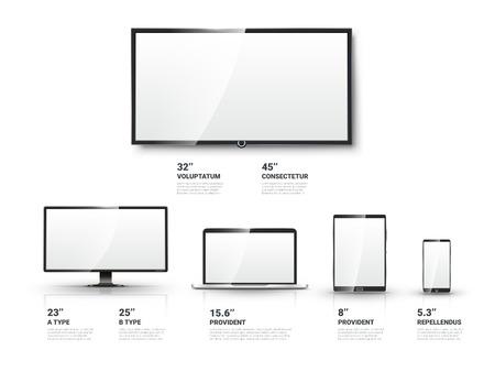 Realista pantalla de TV, monitor LCD, ordenador portátil y la tableta y las plantillas de telefonía móvil establecidos. Informática y comunicación, ilustración de vectores de presentación