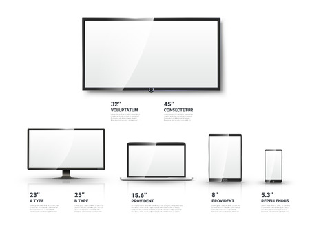 Realistic TV screen, Lcd monitor, laptop and tablet and mobile phone templates set. Computer and communication, display vector illustration Vettoriali
