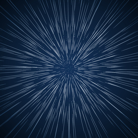 Warp stars vector abstract background. Ray galaxy, flare and light, vector illustration. Traveling in space concept