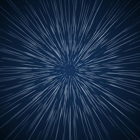 Warp sterren vector achtergrond. Ray melkweg, het afvangen en licht, vector illustratie. Reizen in de ruimte-concept Stock Illustratie