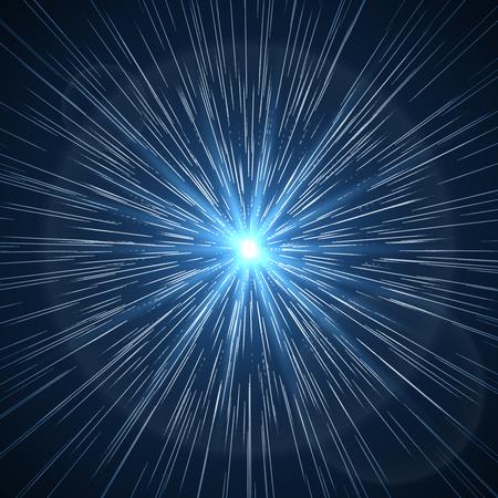 Time warp. Supernova starburst ray. Flare light star space burst, vector illustration 矢量图片