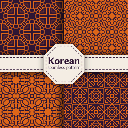 Tradición vector patrones transparentes coreanos o chinos establecen. Diseño del ornamento asiático de arte abstracto colección