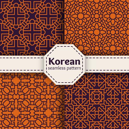 Tradition vecteur seamless patterns coréens ou chinois fixés. Conception d'ornement Asie collection d'art illustration Illustration