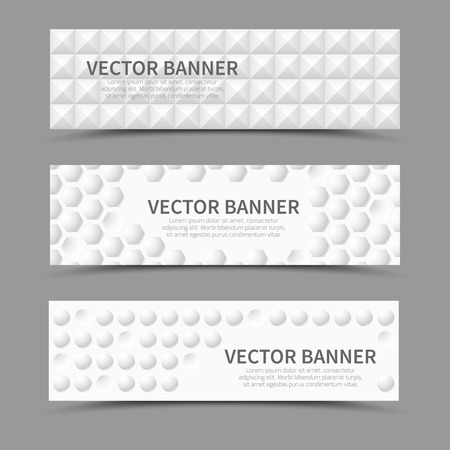 bulge: Set of horizontal banners with 3D geometric shapes. Geometric bulge, cover texture, vector illustration