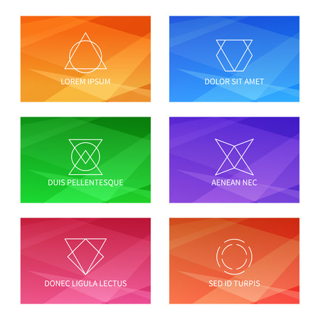 user: User interface templates set triangular pattern. Abstract geometric linear logo. Card ui, label emblem art, vector illustration