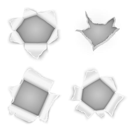 Torn paper holes vector collection. Design edge element, rip curl illustration
