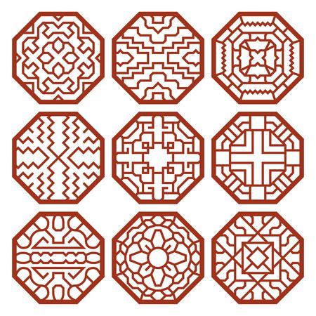 cultura: Coreano patrones de vectores tradicionales, adornos y símbolos. Decoración asiática, textura resumen de la ilustración