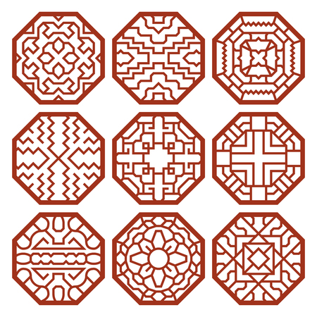 Korean traditional vector patterns, ornaments and symbols. Decoration asian, texture abstract illustration Çizim