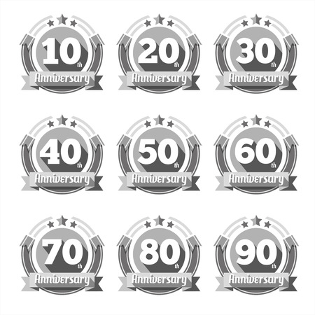 50 years jubilee: Anniversary signs vector set. sign, Element birthday, symbol emblem congratulation illustration