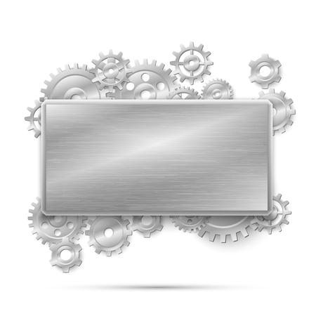 plate: Mechanical steampunk concept. Banner metal gears. Mechanism design machine steel, mechanical industrial, vector illustration