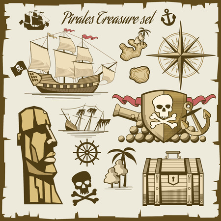 treasure: Pirate objects vector set. Cannon and symbol skull, sea ship illustration