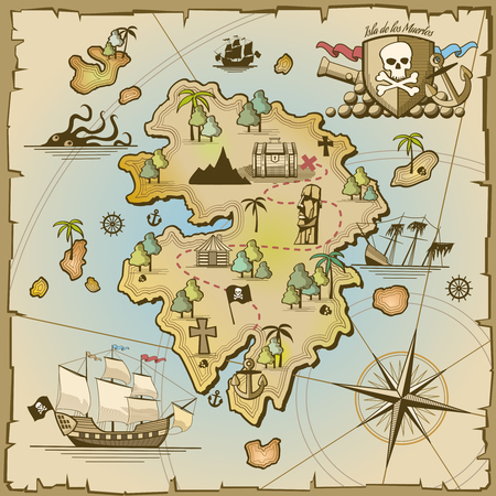 Pirate treasure island vector map. Sea ship, adventure ocean, skull and paper, navigation art and cannon illustration Ilustracja
