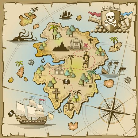 pirata: Tesoro pirata de la isla mapa vectorial. Barco de Sea, aventura en el océano, el cráneo y el papel, el arte de navegación y la ilustración de cañón