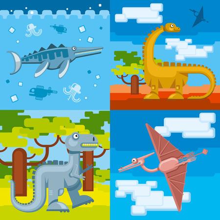 animal in wild: Dinosaur prehistoric concept background set flat design style.  Animal wild,  jurassic dino, vector illustration