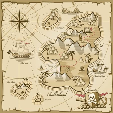 isla del tesoro: Tesoro isla mapa vectorial estilo dibujado a mano. La aventura del mar, la navegación oceánica, el plan y la ruta de pergamino, monstruo y la ilustración de tórax