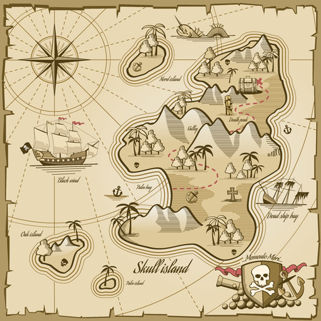 pirate flag: Treasure island vector map in hand drawn style. Sea adventure, ocean navigation, plan and path parchment, monster and chest illustration