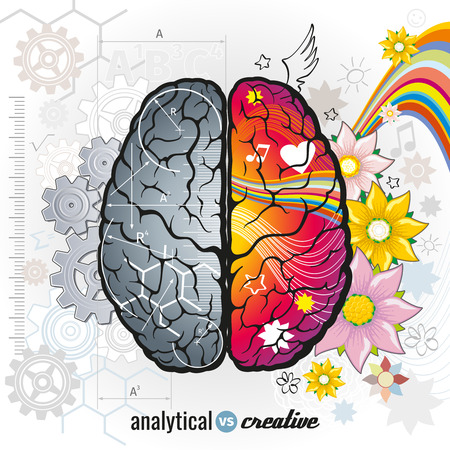 right side: Left analytical and right creativity brain functions vector concept illustrations. Human intelligence, design left and right mind, intellect psychology illustration