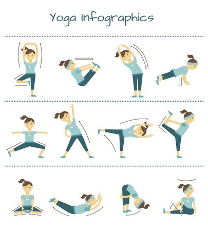 collo: Colonna vertebrale, collo e dolore muscolare esercizi. infografica vettore di yoga. illustrazione sano, posizione di equilibrio Vettoriali