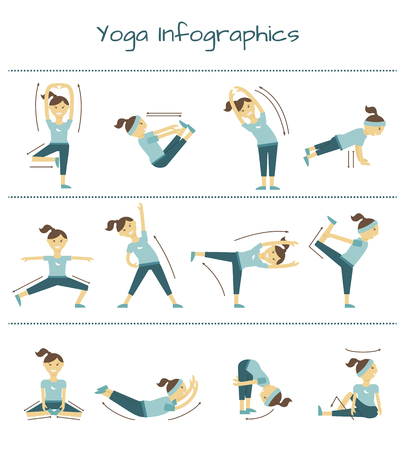 flexible woman: Spine, neck and muscle pain exercises. Vector yoga infographics. Healthy illustration, balance position
