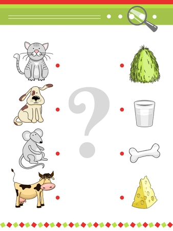 cheese cartoon: Matching game for preschool children book. Cartoon vector animals and their food. Cat and dog, mouse and cow, hay and milk, cheese and bone illustration Illustration