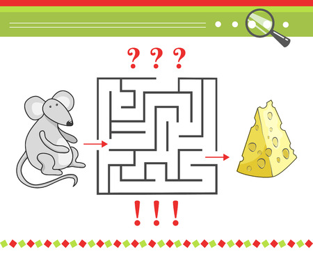 preschool children: Labyrinth or maze game for children with cartoon vector mouse character and cheese. Pastime and leisure, play preschool game illustration