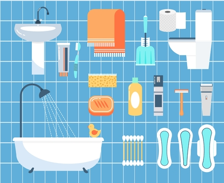 limpieza: Higiene personal iconos vectoriales plana establecen. Palo de oído, maquinilla de afeitar y un cepillo, servilleta y baño ilustración Vectores