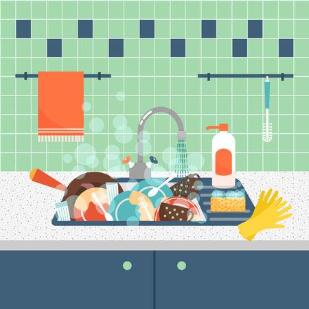 lavar trastes: Fregadero de la cocina con utensilios de cocina y los platos sucios. Lío y lavabo, sucio y utensilios de cocina, esponja de lavado. Ilustración vectorial