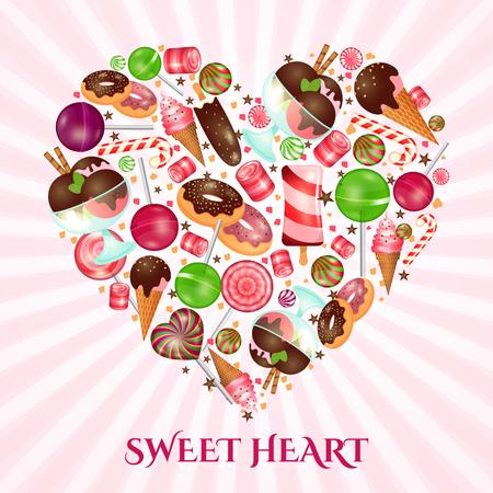 postres: Cartel corazón dulce de confitería. Postre, donuts y dulces, pastel de confitería, ilustración vectorial