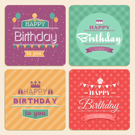 birthdays: Happy Birthday card set retro design style. Invitation vintage, greeting banner, ribbon and celebration, vector illustration