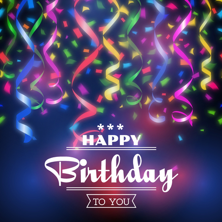 texts: Typographic happy birthday vector background. Design celebration, party invitation decoration illustration